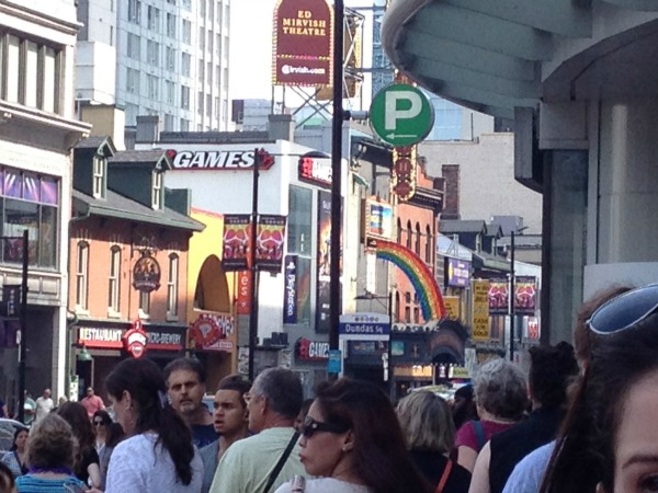 Crowds of people at Dundas and Yonge intersection, near Eaton Centre
