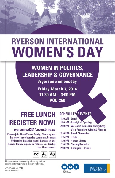 Ryerson University International Womens Day 2014 Flyer