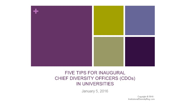 5 Tips for Inaugural Chief Diversity Officers (CDOs) in Universities